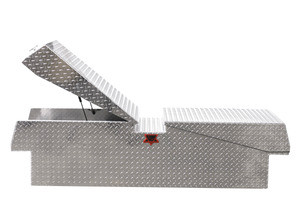 Extra Heavy Duty Gull Wing Diamond Plate Truck Toolbox features heavy duty dual automotive gas lifts on each door