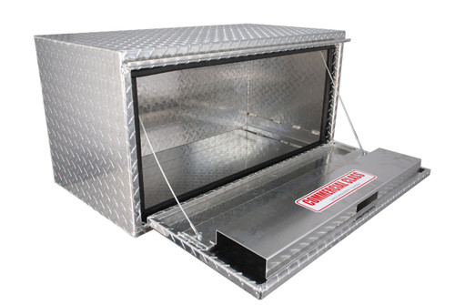 All four models of our Brute Heavy Duty 14 Inch Drop Down Door Under Body Tool Boxes are fabricated with heavy duty .100 thick aluminum and  feature heavy duty cable lid supports and a rain gutter