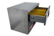 Brute Heavy Duty Under Body Tool Boxes With Top Drawer and Bottom Compartment features a top drawer with adjustable dividers and folding, locking stainless steel handles and a rain gutter