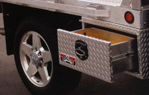 Our USA made Brute Heavy Duty Under Body Tool Boxes With Single Drawer are available in four models and are fabricated with heavy duty .100 thick aluminum for rugged use