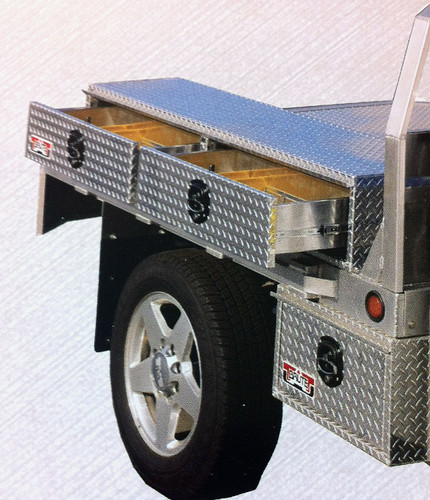 Brute Heavy Duty Flatbed Top Sider Tool Box With Drawers shown mounted to the side of the flat bed with our single drawer underbody box (we have other under body boxes from which to choose).  Under body boxes must be ordered separately.