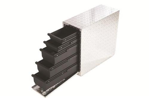 Brite aluminum with black powder coated drawers