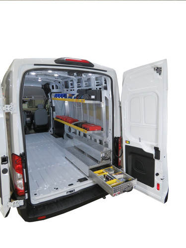Brute Ford Transit Van Aluminum Folding Shelving can be made even more functional by adding some of our BedSafe rolling drawer toolboxes.  Create a modular design that works for your needs among several sizes/styles. (Toolboxes and items on shelves NOT INCLUDED in this listing.)
