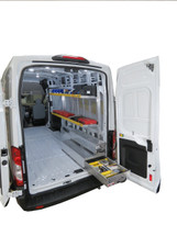 Brute Ford Transit & Transit Connect Van Aluminum Folding Shelving can be made even more functional by adding some of our BedSafe rolling drawer toolboxes.  Create a modular design that works for your needs among several sizes/styles. (Toolboxes and items on shelves NOT INCLUDED in this listing.)