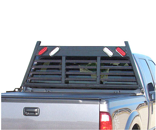 Heavy Duty Lighted Headache Toolbox Rack protects the back window of your pickup truck