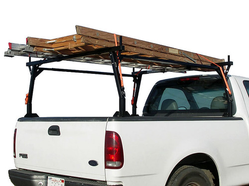 Standard configuration stake pocket ladder rack carrying two ladders (tie down straps and ladders NOT included.