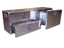 Diamond Plate 3-Drawer Tonneau Cover Tailgate Toolbox has two smaller drawers on the left and one larger/deeper drawer on the right and fits under tonneau covers, on flat beds & in some mini vans & SUV's.