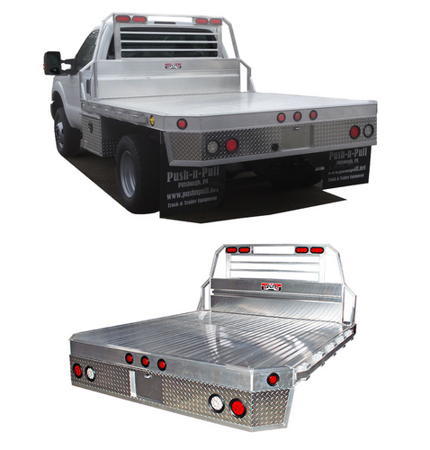 Chassis Cab or Bed Delete Aluminum Flatbed with mitered rear corners and fitted with an optional underbody box