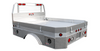 Left side view of Bed Delete or Chassis Cab Aluminum Flatbed with mitered rear corners, wheel fenders with flares, drop down/take off sides and included underbody boxes