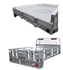 "Aluminum Flatbed with take off style sides - available in 6"" or 12"" heights.  Aluminum 3"" tube construction slips into stake pockets.  ONLY AVAILABLE at  the time of manufacturing the bed unit.  Gooseneck trap door shown in photo is an optional purchase."