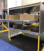 Front view of the Brute Cargo Van Rear Sliding Shelf Organizer on a display stand showing shelf extended (boxes NOT included)