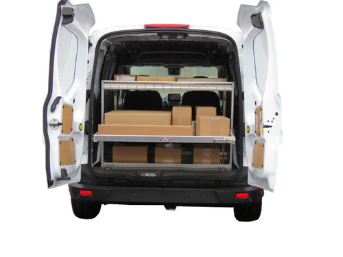 Brute Cargo Van Rear Sliding Shelf Organizer has a sliding tray with a 250 lb. weight capacity (boxes NOT included)
