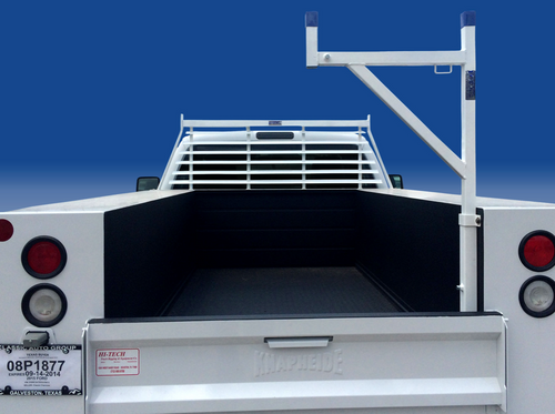 Removable Pickup or Service Body Ladder Rack shown in white powder coated steel - Headache rack NOT included, but can be purchased in our separate listing.