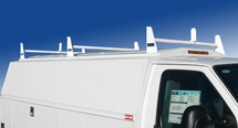 Single Wheel KUV KUVcc Service Body 3-Bar Utility Ladder Racks are available in aluminum or steel and have ladder stops on the front and rear racks.