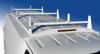 Single Wheel KUV KUVcc Service Body 3-Bar Utility Ladder Racks are powder coated white.