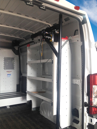 Electric Crane/Van Hoist for KUV/KUVcc Bodies, Commercial & Cargo Vans have a compact footprint, so you still have plenty of room for shelving, etc. (Shelving and other items shown are NOT included)