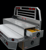Brute FlatbedSafe Heavy Duty Roller Drawer Truck Tool Box shown on a miniature flatbed (not included) as it was designed to be used.  It could possibly be used on other applications so long as you have clearance for the drawers to open.  Underbody box and flatbed box not included.