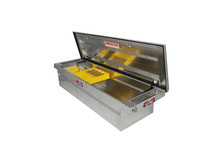 Brute Commercial Class Low Profile Full Lid Crossover Tool Box  has a sliding took tray to organize small items and an integrated tool holder.