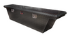 Diamond Plate Aluminum Jeep Gladiator Narrow Low Profile Crossover Toolbox in black powder coat.