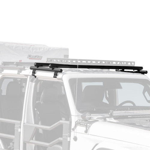 Jeep Wrangler and Gladiator Hex Series Aluminum Front Roof Rack can be mounted over the front doors or the back doors. The second rack shown and any accessories/equipment are not included.