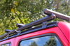 Jeep Wrangler and Gladiator Hex Series Aluminum Front Roof Racks crossbars can be moved forward or backward on the base to best suit your cargo needs.  The second rack shown is not included.  It must be purchased separately.