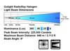 GoLight® GT RadioRay® Black Portable Magnetic Base Remote Control Halogen Searchlight  beam dimensions.