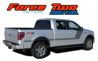 "FORCE TWO SCREEN : 2009-2014 and 2015 2016 2017 2018 2019 2020 Ford F-150 Hockey Stripe ""Appearance Package Style"" Vinyl Graphics Decals Kit (VGP-1973.3517)"
