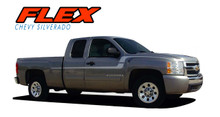FLEX : 2007 2008 2009 2010 2011 2012 2013 2014 2015 2016 2017 2018 Chevy Silverado Side Door to Fender Vinyl Graphics Decal Stripe Kit (VGP-1284)