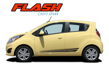 FLASH : 2013 2014 2015 2016 Chevy Spark Lower Rocker Panel Vinyl Graphic Stripe Decals Kit (VGP-2218)