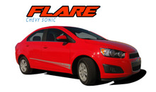 FLARE : 2012 2013 2014 2015 2016 Chevy Sonic Hood Graphic and Lower Rocker Panel Vinyl Graphic Stripe Decals (VGP-1732)