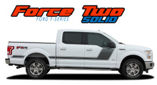 "FORCE TWO SOLID : 2009-2014 and 2015 2016 2017 2018 2019 2020 Ford F-150 Hockey Stripe ""Appearance Package Style"" Vinyl Graphics Decals Kit (VGP-1977.3518)"