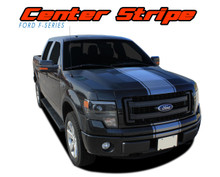 F-150 CENTER STRIPE : 2009 2010 2011 2012 2013 2014 Ford F-150 Center Hood Vinyl Racing Stripes Graphics Decals Kit (VGP-1974)