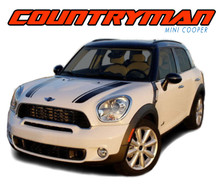 COUNTRYMAN HOOD : 2010 2011 2012 2013 2014 2015 2016 2017 Mini Cooper Hood Vinyl Graphics Stripe Decal Kit (VGP-1722)