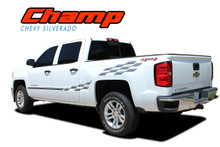 CHAMP : 2014 2015 2016 2017 2018 Chevy Silverado or GMC Sierra Checkered Flag Bed Side Vinyl Graphic Decal Stripe Kit (VGP-2363)