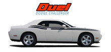 DUEL : 2008 2009 2010 2011 2012 2013 2014 2015 2016 2017 2018 2019 2020 Dodge Challenger Upper Door Split Strobe Vinyl Graphic Decal Stripe Kit (VGP-1431.1644)