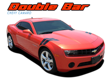 DOUBLE BAR : 2010 2011 2012 2013 2014 2015 Chevy Camaro LeMans Style Hood Fender Hash Stripes Vinyl Graphic Decal Kit (VGP-1795)