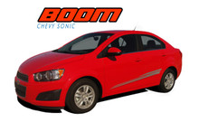 BOOM : 2012 2013 2014 2015 2016 Chevy Sonic Hood Graphic and Lower Rocker Panel Vinyl Graphic Stripe Decals (VGP-1731)