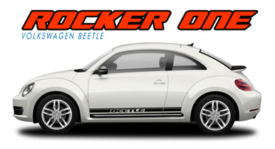 BEETLE ROCKER ONE : 2012 2013 2014 2015 2016 2017 2018 2019 Volkswagen Beetle Lower Door Rocker Panel Striping Vinyl Graphics Decal Kit (VGP-2071)