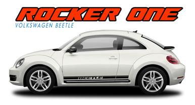 BEETLE ROCKER ONE : 2012 2013 2014 2015 2016 2017 2018 2019 Volkswagen Beetle Lower Door Rocker Panel Striping Vinyl Graphics Decal Kit (VGP-2071)