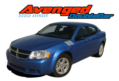AVENGED DOUBLE BAR : 2008 2009 2010 2011 2012 2013 2014 Dodge Avenger Hood to Fender Hash Vinyl Graphics Decal Stripe Kit (VGP-1728)
