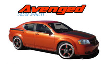 AVENGED : 2008 2009 2010 2011 2012 2013 2014 Dodge Avenger Small Hood Stripe, Rear Fender Quarter Panel Striping and Rear Trunk Upper Blackout Vinyl Graphics Decals Stripe Kit (VGP-1303)