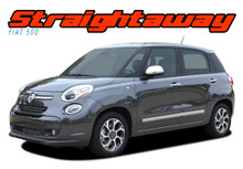 STRAIGHTAWAY : 2014 2015 2016 2017 2018 Fiat 500L Abarth Upper Side Door Vinyl Graphics Stripes Decals Kit (VGP-2510)