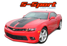 S-SPORT : 2014-2015 Chevy Camaro SS Hood Rally Racing Stripes Vinyl Graphics Trunk OEM Style Decal Kit (VGP-2433)