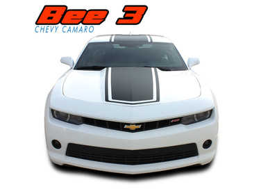 BEE 3 : 2014-2015 Chevy Camaro Wide Center Outline Vinyl Graphics Racing Stripes Kit (VGP-2730.31)