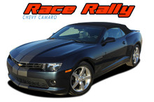 RACE RALLY : 2014-2015 Chevy Camaro Indy Style Hood Rally Vinyl Graphics Racing Stripes Kit for All Models (VGP-2573.78)