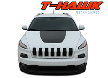 T-HAWK : 2014-2020 2021 Jeep Cherokee Trailhawk Center Hood Blackout Vinyl Graphics Decal Stripe Kit (VGP-2805)