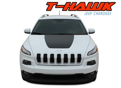 T-HAWK : 2014-2020 2021 Jeep Cherokee Trailhawk Center Hood Blackout Vinyl Graphics Decal Stripe Kit (VGP-2805)