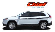CHIEF : 2013 2014 2015 2016 2017 2018 2019 2020 2021 Jeep Cherokee Upper Body Line Accent Vinyl Graphics Decal Stripe Kit (VGP-2806)