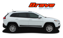 BRAVE : 2013 2014 2015 2016 2017 2018 2019 Jeep Cherokee Lower Rocker Panel Body Door Vinyl Graphics Decal Stripe Kit (VGP-2808)