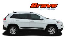 BRAVE : 2013 2014 2015 2016 2017 2018 2019 2020 2021 Jeep Cherokee Lower Rocker Panel Body Door Vinyl Graphics Decal Stripe Kit (VGP-2808)